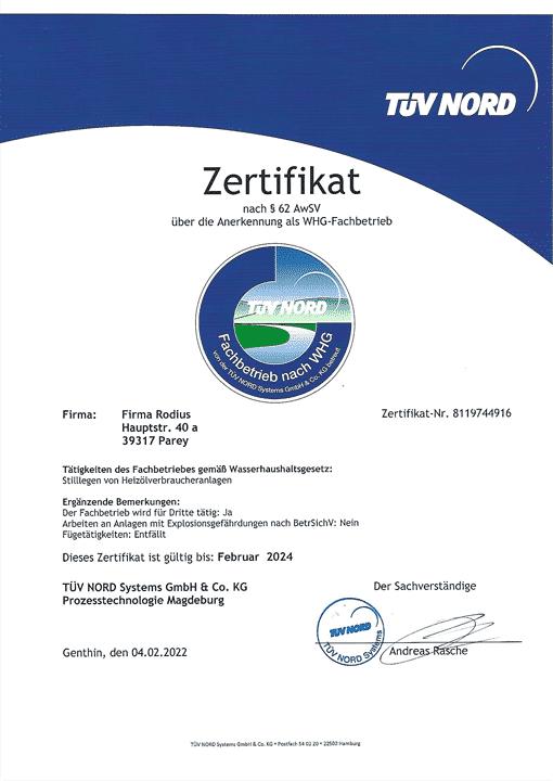 Zertifikat WHG Fachbetrieb - Rodius